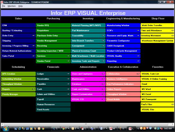 Infor VISUAL ERP Software -